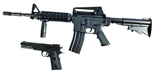 Softair Gun Set Airsoft Pistole 25cm Gewehr 83cm 0,49 Joule Black