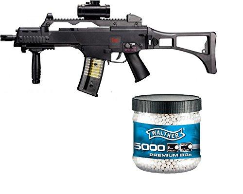 SET: HK Heckler & Koch G36 C AEG ELEKTRISCH Softair Gewehr + Walther Premium Softairkugeln weiß 6mm 0,20g 5000 BBs