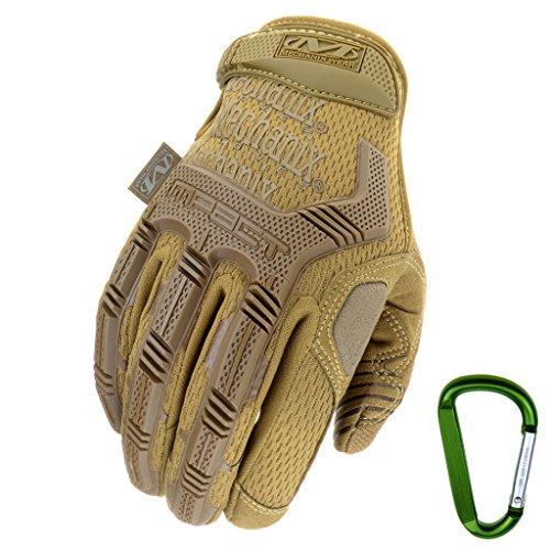 Mechanix WEAR M-PACT Tactical Einsatz-Handschuh, optimaler Schutz, atmungsaktiv beste Passform + Gear Karabiner, Schwarz Covert, Coyote, Multicam, Wolf Grey, Größe: S,M,L,XL (S, Coyote)